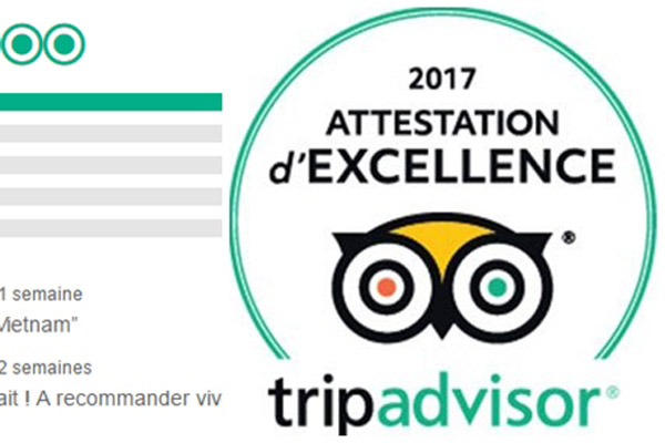 Asiatica Travel a remporté l'attestation d'excellence 2017 de Tripadvisor