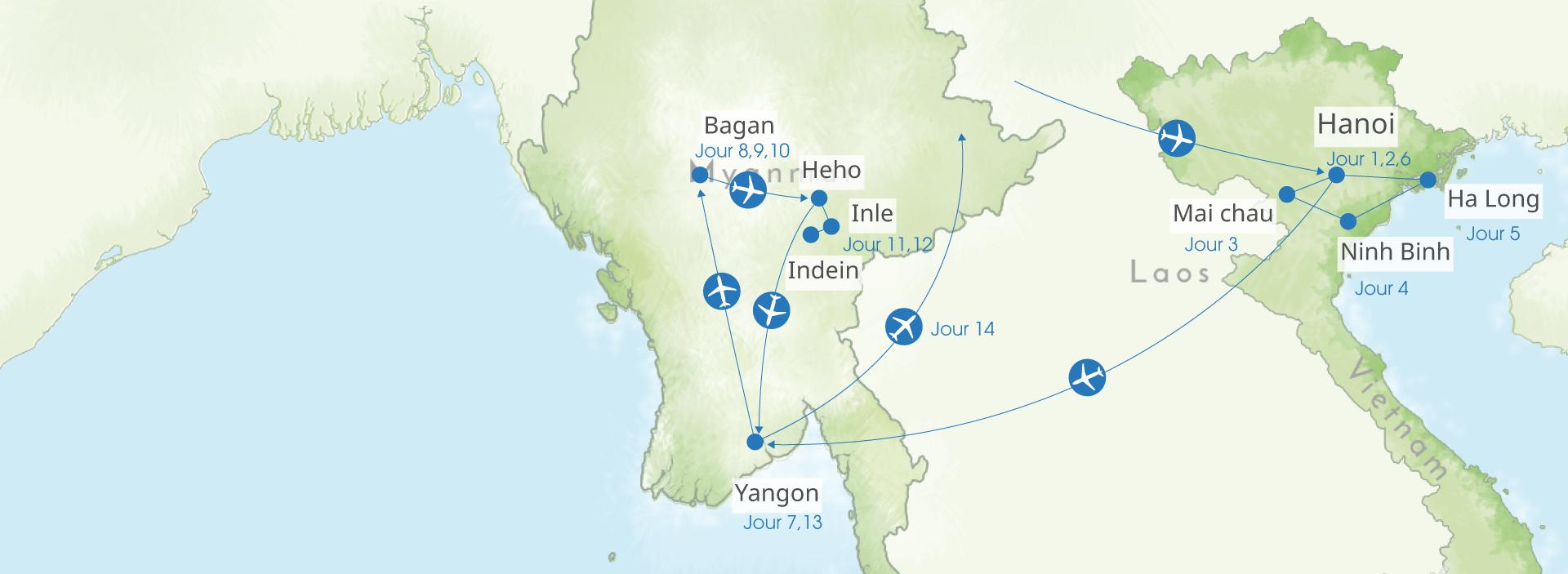 carte, vietnam, myanmar, birmanie, itineraire
