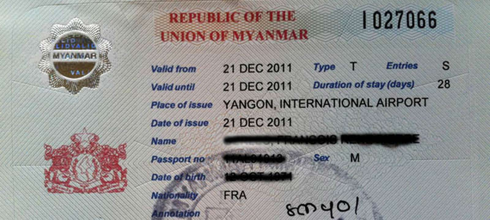 Visa du Myanmar
